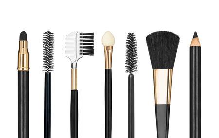 sch�ne augen: Werkzeuge f�r Make-up auf wei�em Hintergrund Lizenzfreie Bilder