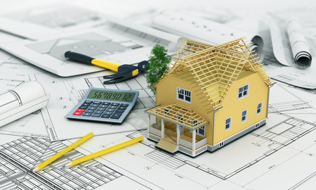 construction materials: 3d render of house in building process with tree, calculator and pencils on the blurred blueprints.
