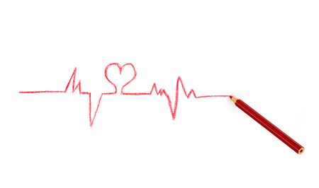 cardiogram: red pencil drawing cardiogram line isolated