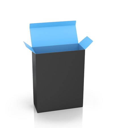 software package: Software Package Box Opened Black Inside Blue on a white background