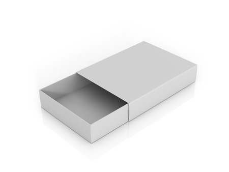 box of matches: The open white cardboard box from under the matches on a white background Stock Photo
