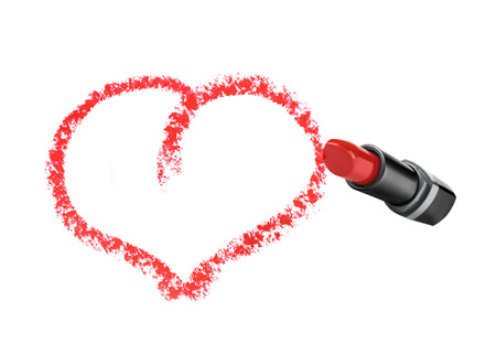 hacer el amor: Heart shape drawn with lipstick on an isolated white background