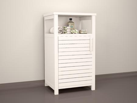 ensuite: 3D Illustration Of White Bedside Table En-suite Accessories