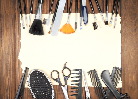 black barber: Professional hairdresser and make up tools on table close-up