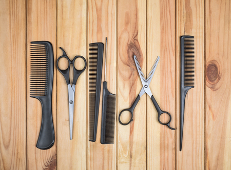salon background: Professional hairdresser tools on table close-up