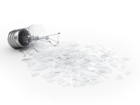 blackout: Broken lightbulb on white background