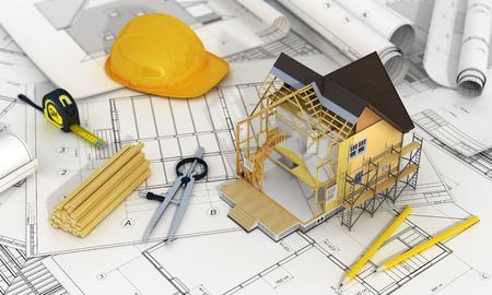 Concept van de bouw en het ontwerp van de Architect. 3D render van een huis in de bouw van proces met boom, rekenmachine en potloden op de vage blauwdrukken. We zien bestanddelen van het dak frame en isolatielaag.