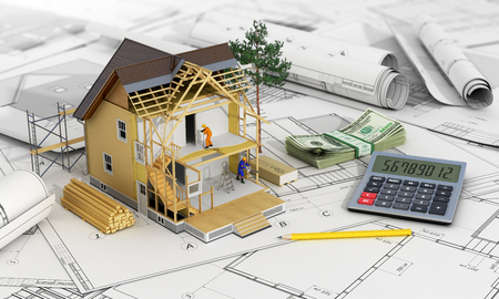 subflooring: 3d render of house in building process with tree, calculator and pencils on the blurred blueprints.