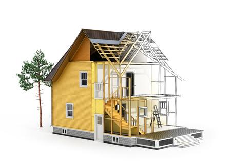 3D render van een huis in de bouw van proces met boom. Overgang van schets tot model.