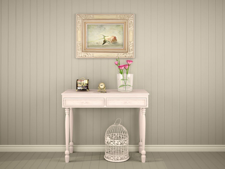 interior cell: 3D Illustration Of Decorative Table With A Picture On The Wall Stock Photo