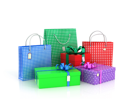 gift bow: Colorful gifts and packages on a white background.