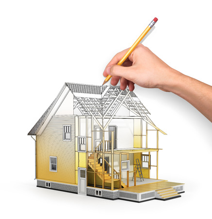 subflooring: 3d render of house in building process with tree. Hand drawing sketch.