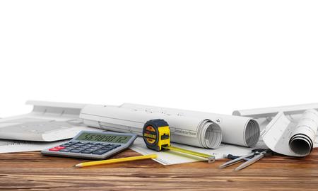 subflooring: 3d render of blueprints designer tools on wood background. Stock Photo