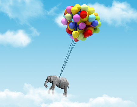 powerful creativity: An elephant being lifted by balloons