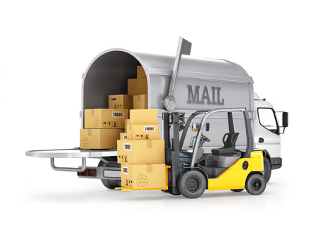 usps: The carrier of cargo mail and forklift with boxes, isolated on white background