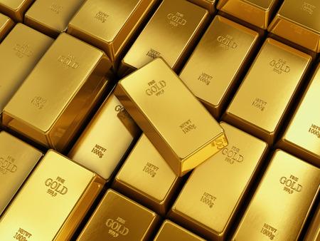 ingot: Many Gold bars or Ingot Stock Photo