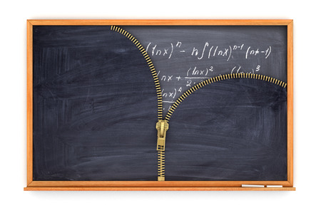 knowlage: classroom blackboard open by zipper and blackboard with mathematical formulas inside Stock Photo