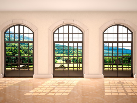 windows frame: 3d illustration of large arched windows with a view of nature Stock Photo