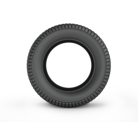 car mechanic: Black rubber car tire on a white background. Stock Photo