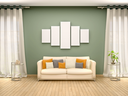 blank canvas: 3d illustration of blank canvas above the sofa in the interior Stock Photo