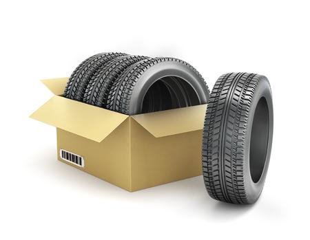 tire tread: Car tires in a box