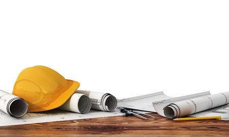 Koncepcja budowy i projektowania. 3d render plany i narzędzi projektanta na panoramę placu budowy. Zdjęcie Seryjne