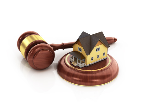 repossession: House auction concept. 3d illustration of wooden gavel with house on white background. Stock Photo