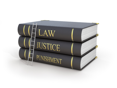 fair trial: Concept of fair trial. Staircase upstairs three books with name law, justice and punishment on a white background. Stock Photo