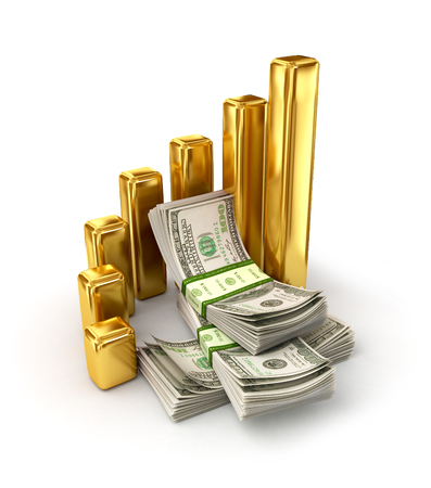 oncept: oncept of changes in exchange rates, a stacks of dollar bills surrounded by gold columns Stock Photo