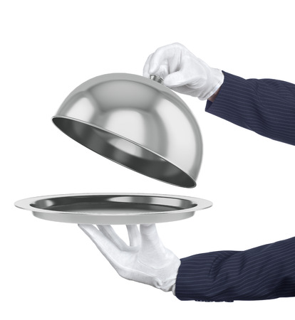 camarero: cloche restaurante con la tapa abierta. Ilustraci�n 3D. Foto de archivo
