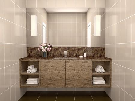 washbasin: 3d illustration of Washbasin with mirror
