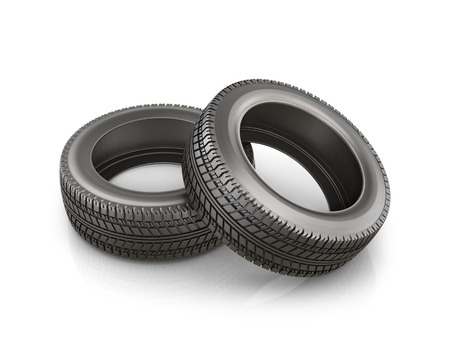 twain: Two rubber tire, isolated on white background Stock Photo