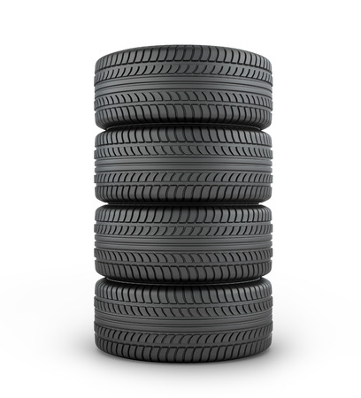 garage mechanic: Four black rubber tires on a white background.