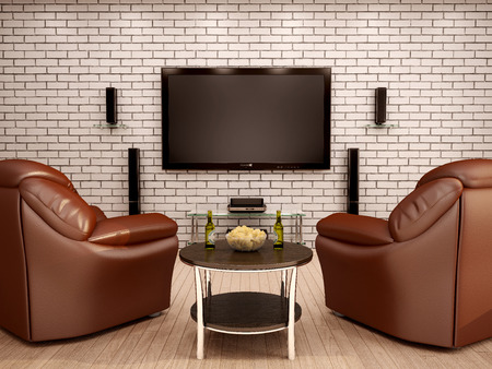 home theater: 3d illustration of home theater leather chairs table with chips and beer