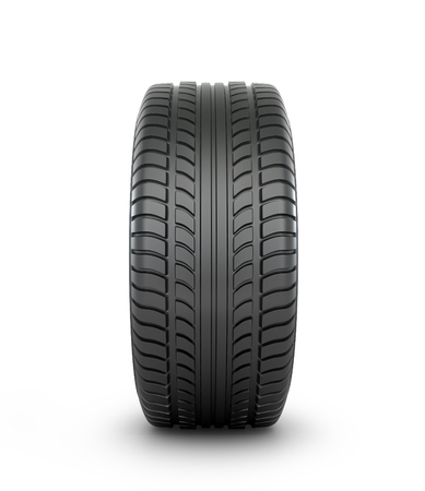 car tire: Black rubber car tire on a white background. Stock Photo