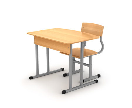 chair wooden: school desk and chair on white background
