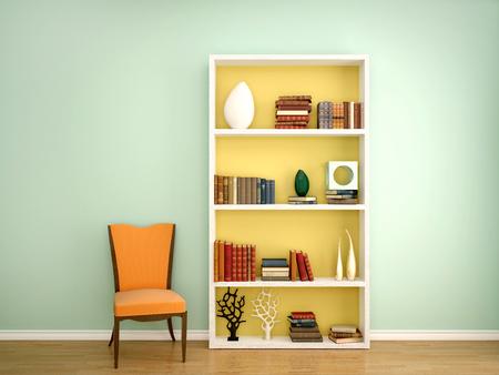 3d ilustración de los libros en los estantes de la decoración en el interior y una silla de naranja