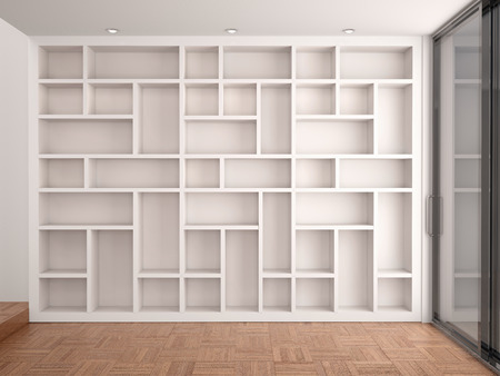 book shelves: 3d illustration of Empty shelves in modern white interior