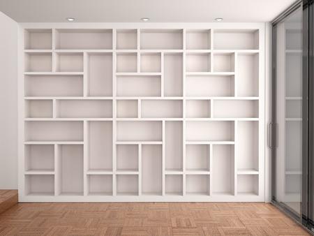 libros abiertos: 3d ilustración de los estantes vacíos en el interior blanco moderno Foto de archivo