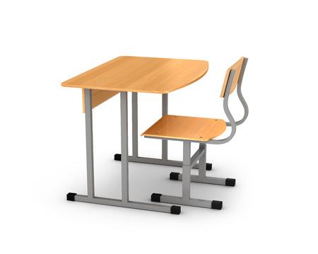 school desk: school desk and chair on white background