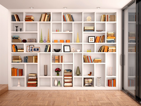 library: 3d illustration of White shelves in the interior with various objects