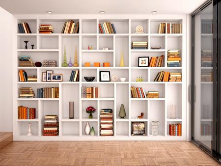 libros abiertos: Ilustración 3D de estantes blancos en la interrelación con los objetos Vaus Foto de archivo