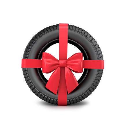 car tire: Car tire Wrapped Gift ribbon and bow on a white background. Stock Photo