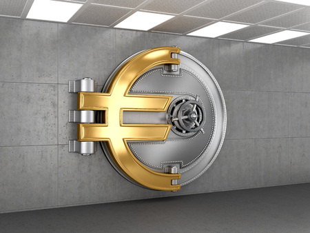 bank protection: Business abstract background; Door of a Vintage Locked Safe in a Bank Vault Retail Security