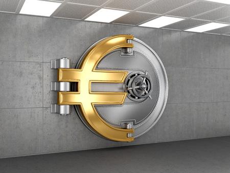 Affaires fond abstrait; Porte d'un Vintage Locked Coffre-fort dans une banque Vault Retail Security