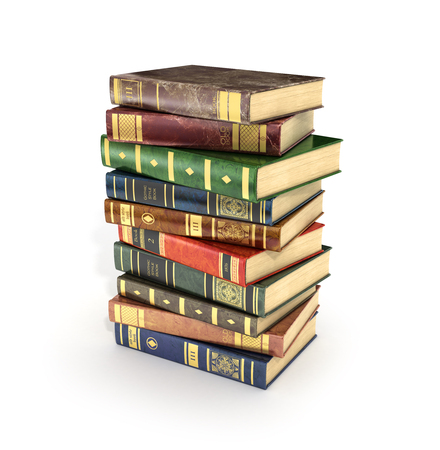 bales: 3d render of stack old colorful books on a white background.