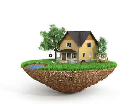 sweet grass: Concept of sweet home. House with on the grass with trees on the island is flying. Stock Photo