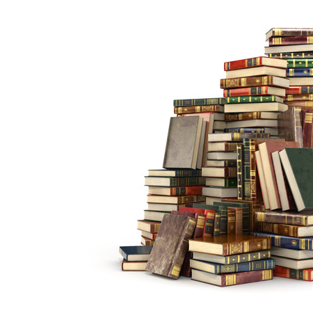quantity: 3d render of big pile of colorful books on the right side, isolated on a white background.