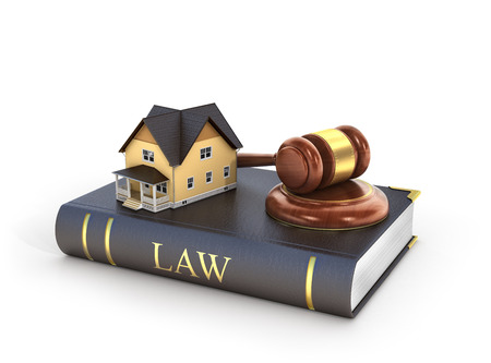 repossession: Concept of suing for property. 3d illustration of wooden gavel with house on the book of law.