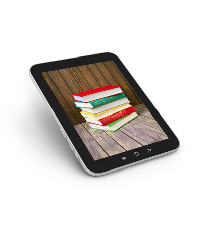 e book device: stacked books in the monitor of a touch screen